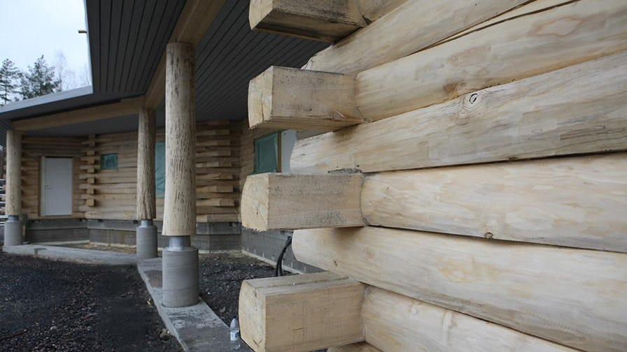 A log home made from aspen half beams