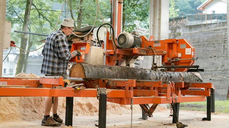 The sawmill has an electric engine