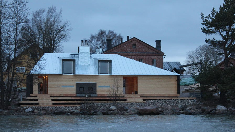 This is how a Finnish sauna on the island of Suomenlinna looks like